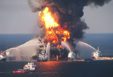 BP's Deepwater Horizon offshore oil rig exploded on April 20, 2010, killing 11 men and resulting in a damaged well that has, to date,  leaked over an estimated 900 million gallons of oil into the Gulf of Mexico.