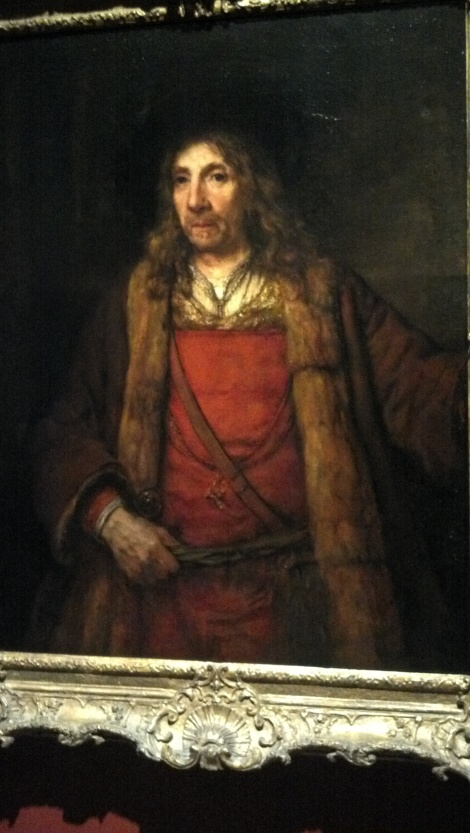 """Man in a Fur-lined Coat"" - about 1655-1660, Rembrandt van Rijn (photo via my camera phone, no flash, of course)"