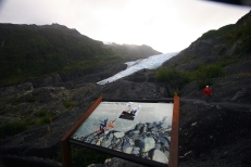 A sign marks the location of Exit Glacier in 1998