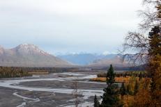Outwash plain at base of the Alaska Mountain Range