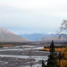 Outwash plain at base of the Alaska Mountain Range