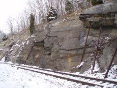 """Remediated"" rock slope along railroad, Cedar Bluff, VA"