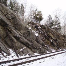 """Remediated"" rock slope along railroad, Cedar Bluff, VA"
