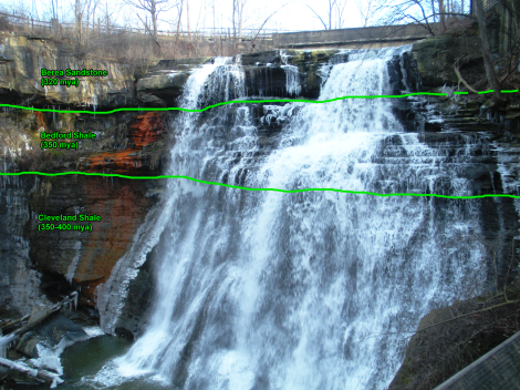 Brandywine Falls, annotated with geologic boundaries.